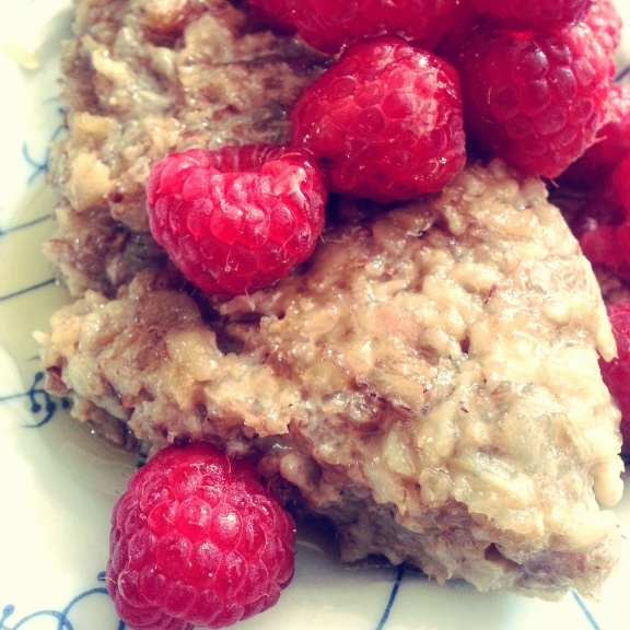 With raspberries, but bananas are good too
