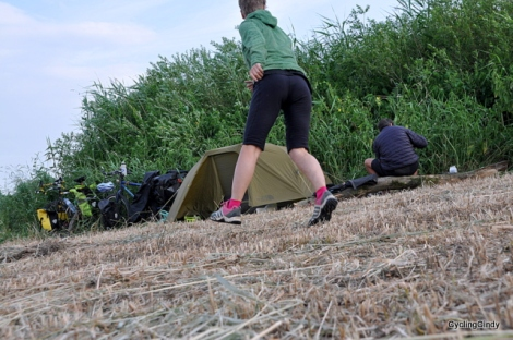 A great stealth camp near boys and men fishing