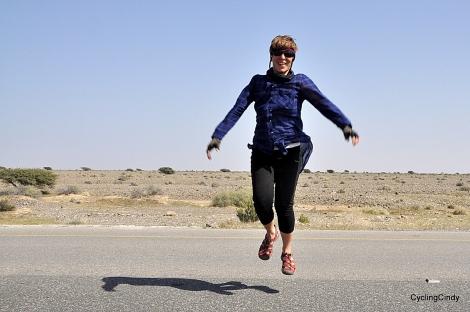 Happy jump, I am on my way to the interiour of Oman