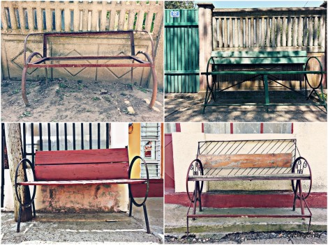 All the same style of benches