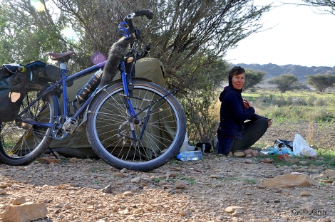 The freedom while cycling is great, here I choose a campspot in, Oman