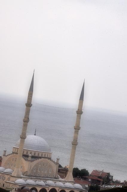 A mosque down below us