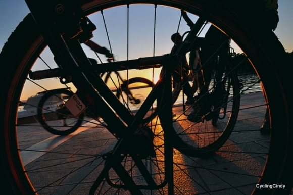 Behind the cycle wheel