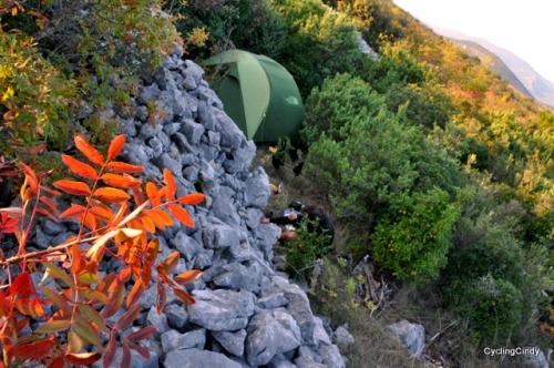 Camp in one of the pockets made with stone walls