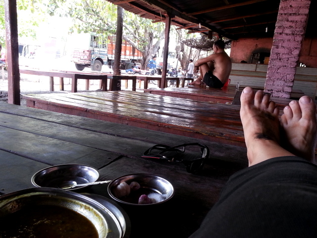 Truck dhaba, very unusual to see a truck driver without a shirt.