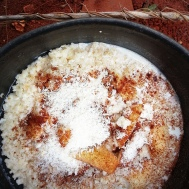 Porridge with left over rice and coconut