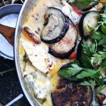 Fried aubergine & potato, gorgonzola and pepper omelet