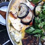 Fried aubergine & potato, gorgonzola and pepper omelet