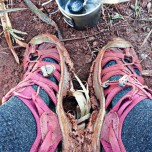 It's zero degrees. Muddy. Time to wear heavier shoes. I carry them with me. so...