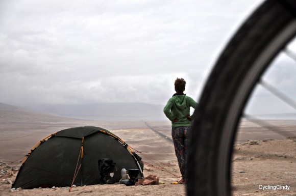 A campspot in the desert of Peru. I chose to camp above the road.